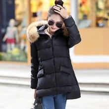 2016 Корейский стиль нового зимнего пальто длинные участки беременных женщины куртка плюс размер XXL мода мягкий меховой воротник парки 7334
