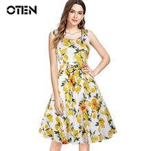 20adbaaa0491 OTEN Women Summer Casual Sleeveless Lovely Yellow Lemon Printed Vintage 50s  60s Elegant Bow Patchwork Rockabilly Pleated dresses