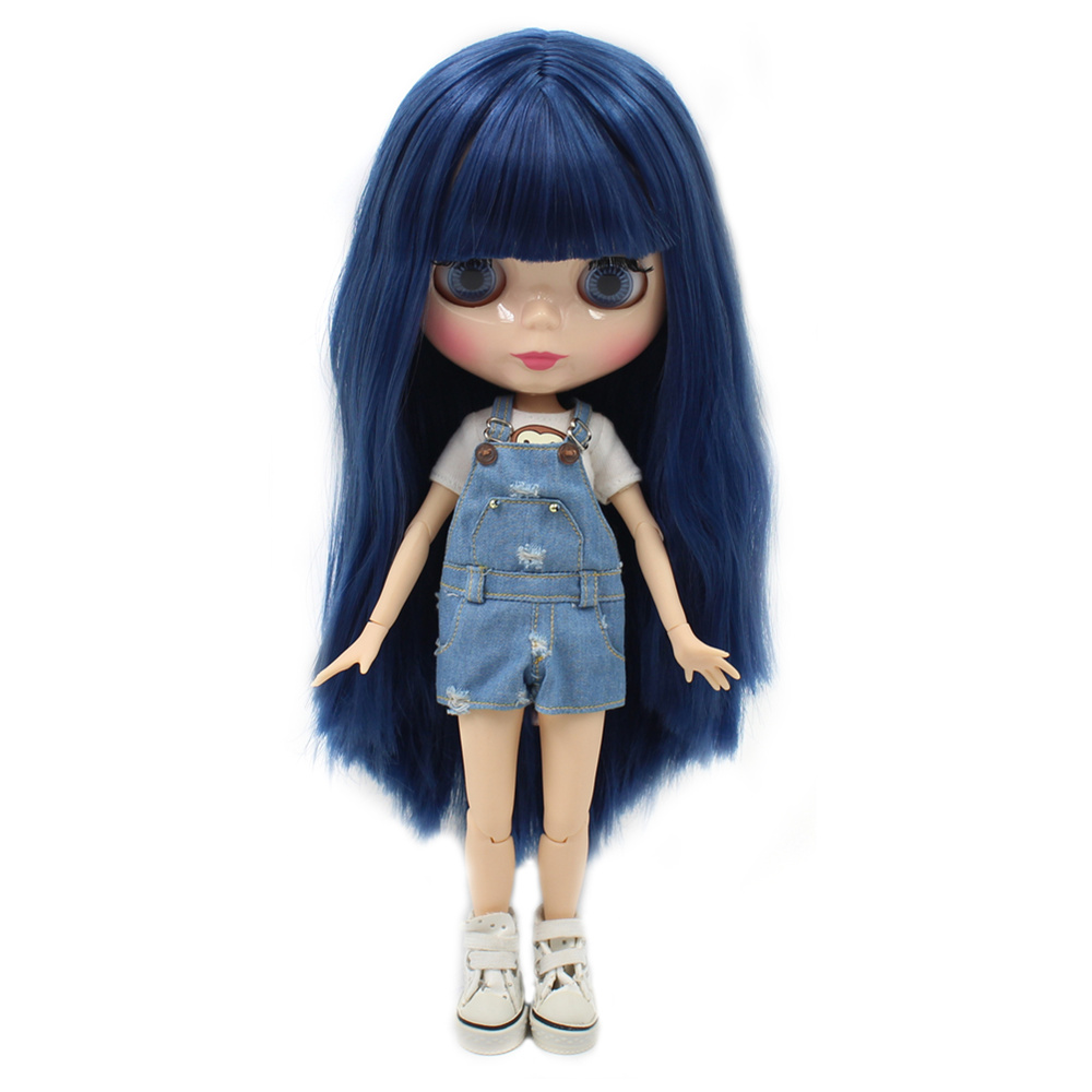 Free shipping factory blyth doll BL6221 blue straight hair with bangs fringes natural skin joint body