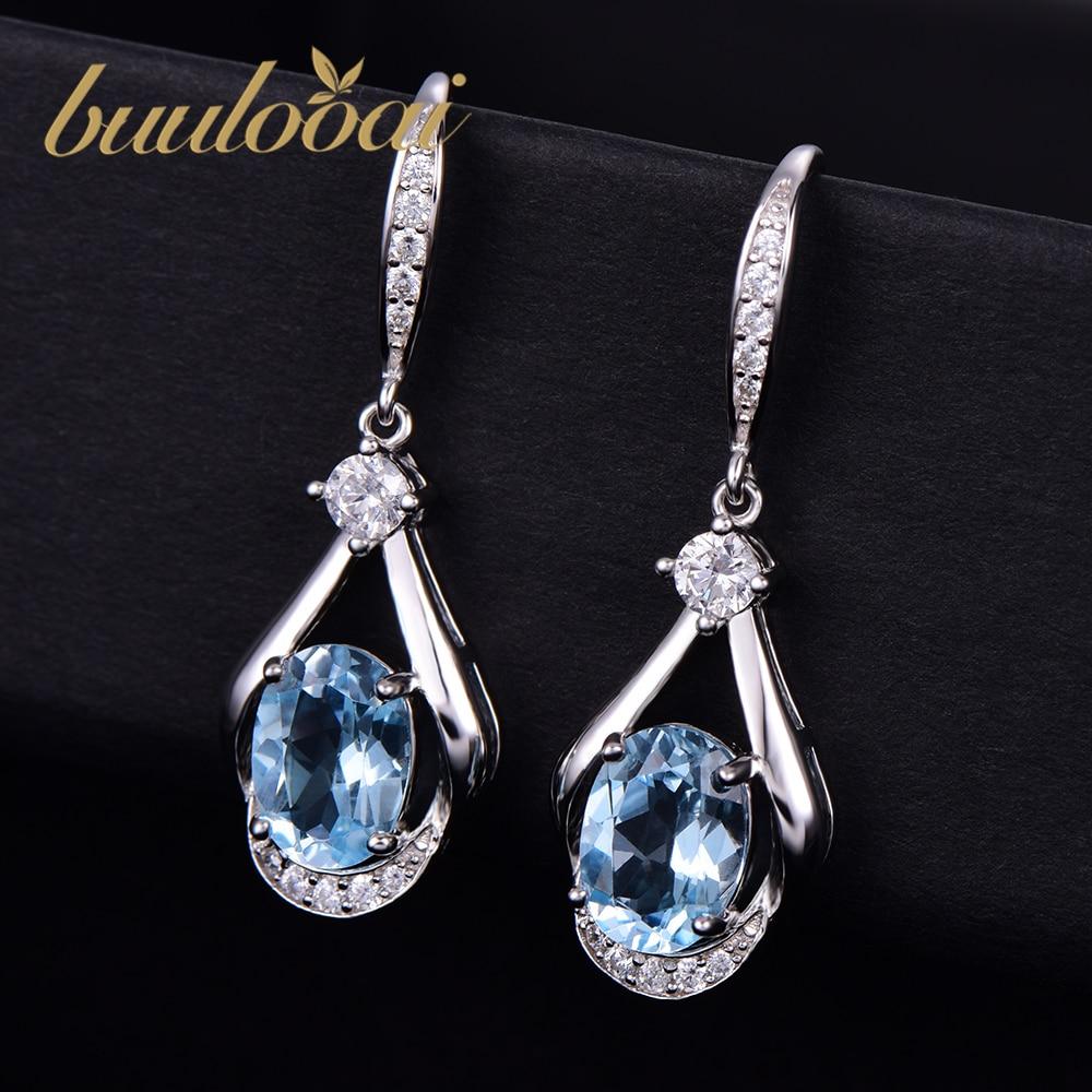 Buulooai Sky Blue Topaz Wedding Anniversary Drop Earrings Genuine 100% Real 925 Sterling Silver Fine Jewelry For Women