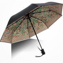 Europa Estados Unidos Gran Luz UV Paraguas Previene toma el sol Recubrimiento Negro Flor Forestales Automática 3 Plegable Sunny Rainy Umbrella