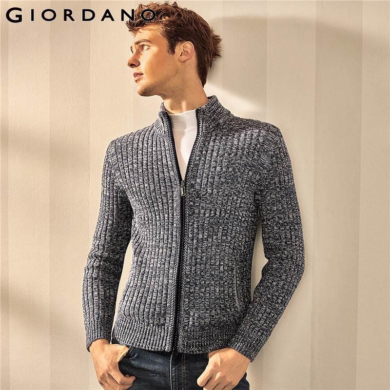 Giordano hommes pull Jacquard demi col roulé poche manches longues chandails homme chaud mode marque Hombre vêtements Uomo