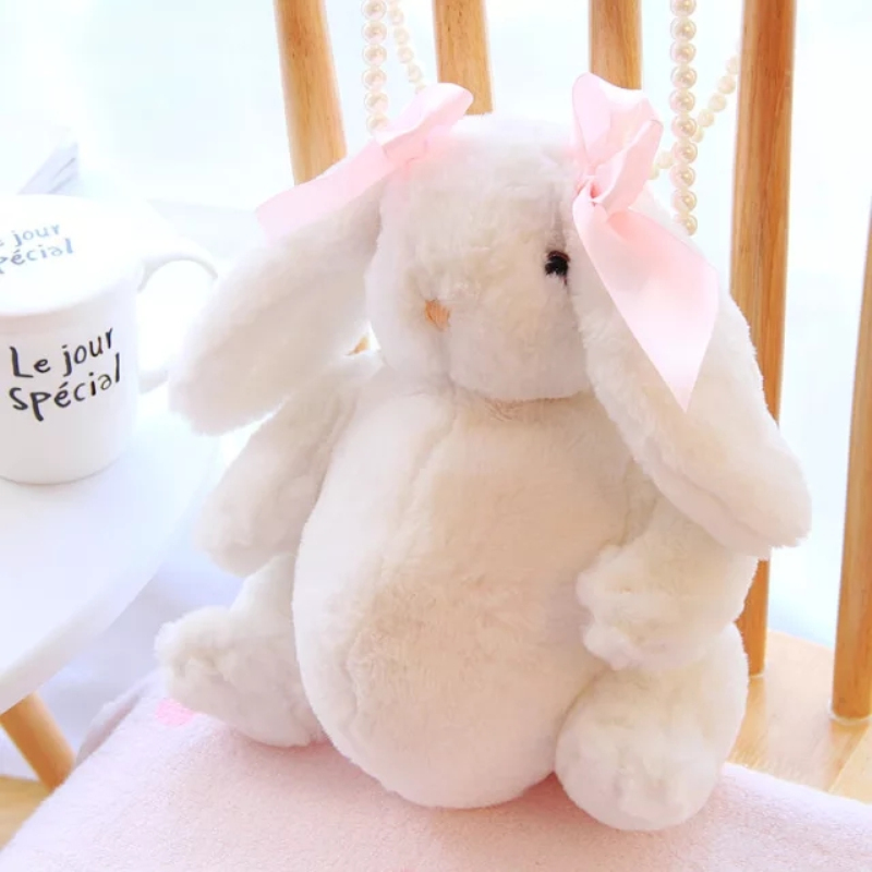 Cute Rabbit Plush Backpack Single Shoulder Bag Pearls Chain plush Lolita Syrup Mini Bags For Teenager Girls free shipping imitation pearls chain flatback resin material half pearls chain many styles to choose one roll per lot