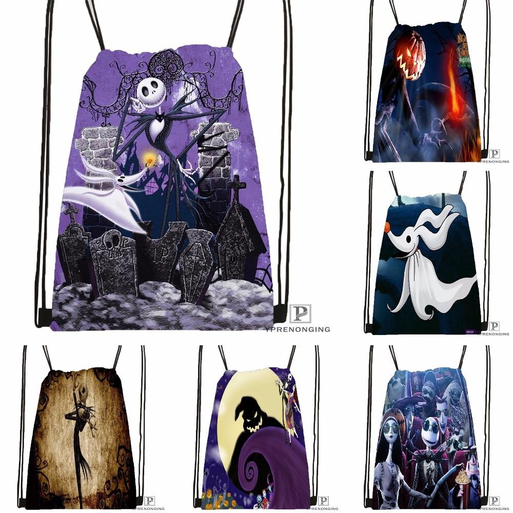 Custom The Nightmare Before Christmas Drawstring Backpack Bag Cute Daypack Kids Satchel (Black Back) 31x40cm#180531-04-08
