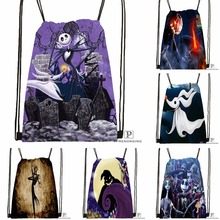 Custom The Nightmare Before Christmas Drawstring Backpack Bag Cute Daypack Kids Satchel (Black Back) 31x40cm#180531-04-08