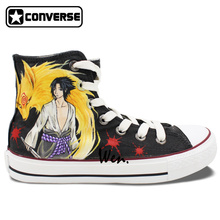 Anime Shoes for Men Women Naruto Uchiha Sasuke Design Hand Painted Sneaker