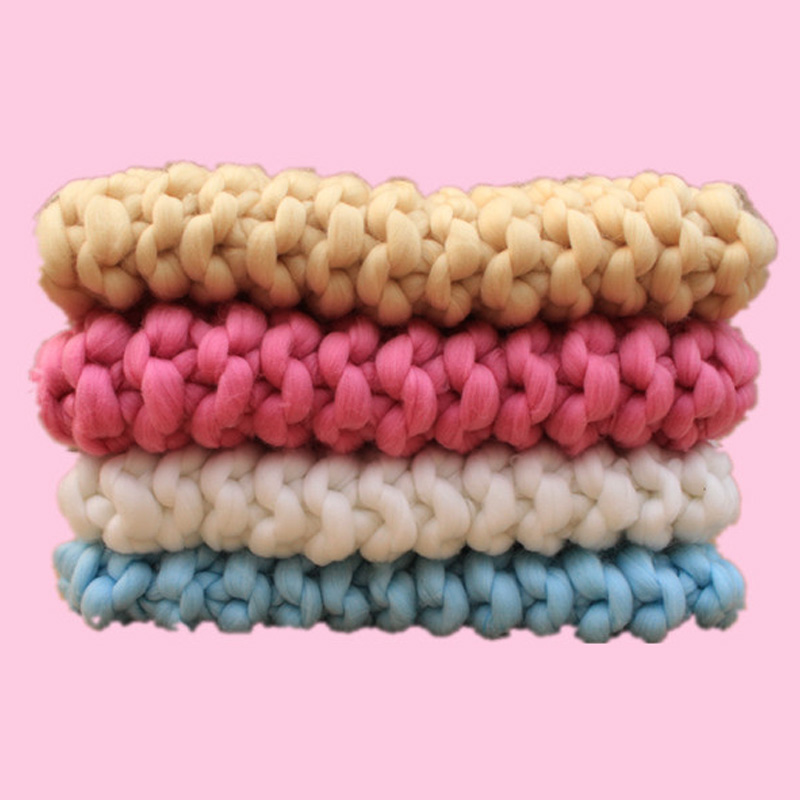 (40*60cm) Handmade Crochet Baby Blanket Newborn Baby Basket Stuffer Background Photography Studio Newborn Photography Props