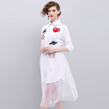 European Style Gauze Splicing Long Summer Dress 2017 New Beading Embroidery Lapel 3/4 Sleeve White Casual Dresses