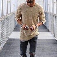 2018 Новое поступление осенне-зимний свитер Для мужчин с длинными рукавами и круглым вырезом тонкий черный, белый цвет теплый свитер плюс Раз...
