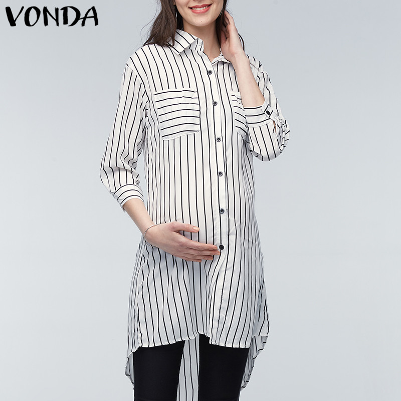 VONDA Maternity Clothings Pregnant Women Blouses 2019 Pregnancy Lapel 3/4 Sleeve Casual Loose Striped Shirts Plus Size Oversized