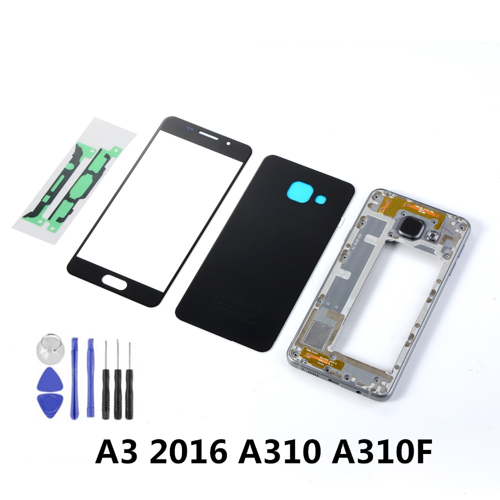For Samsung A3 2016 A310 A310F LCD Front Touch Screen Sensor+Housing Metal Middle Frame+Back Glass Battery Cover+Tools