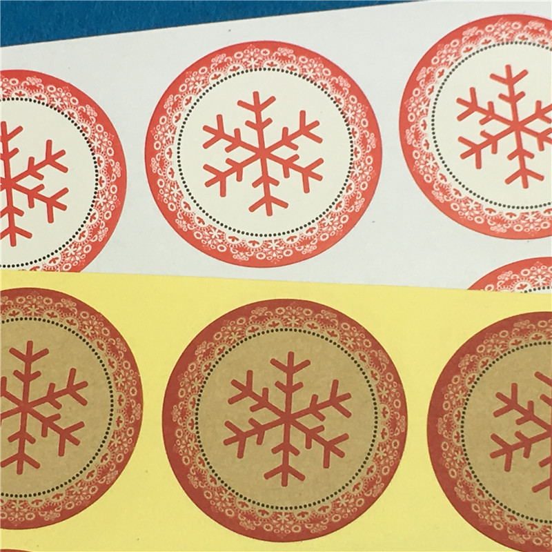 Honesty 300pcs/lot Sticker Labels Snowflake Handmade 3.5x3.5cm Adhesive Stickers For Wedding Cake Bags Boxes Party Holiday Adornment Stickers