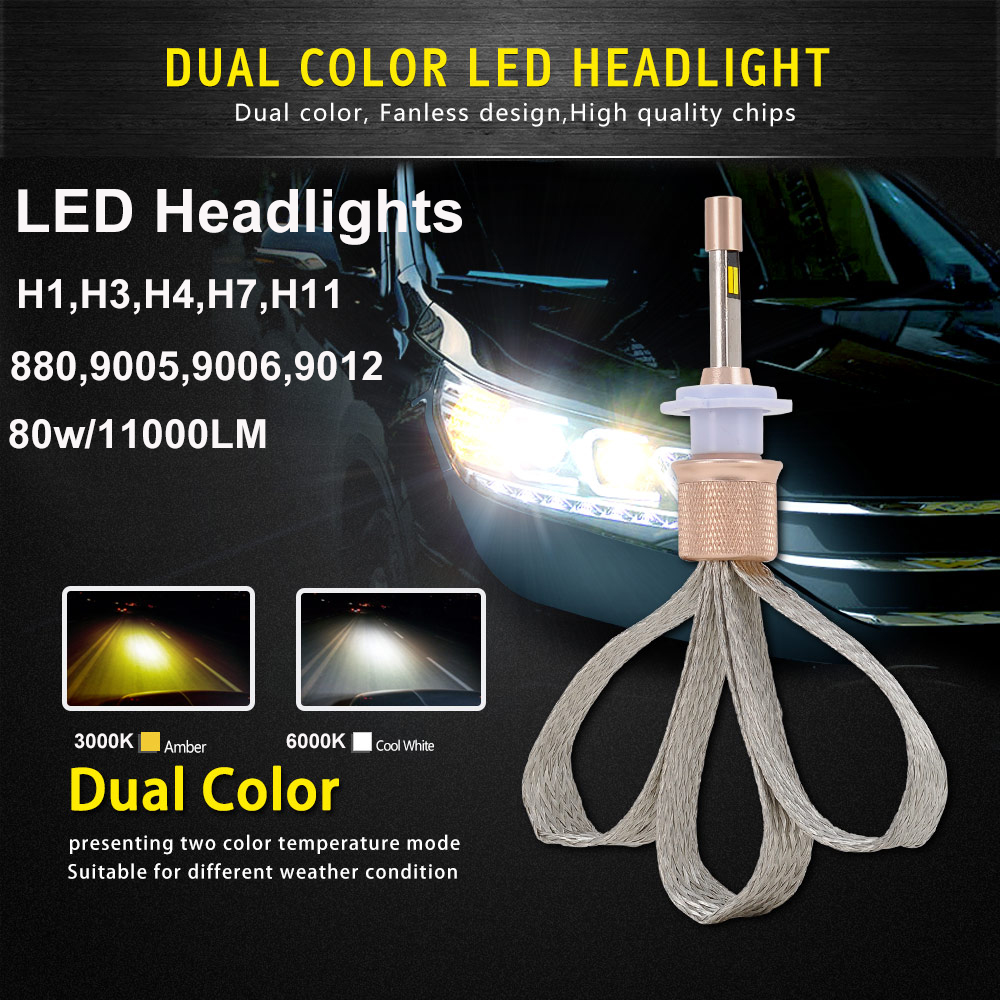 2pcs Auto Led Light Dual Color 3000k 6000k 880/9005/9006/9012/H1/H3/H4/H7/H11 Car Driving Fog Lights 80w 11000lm Headlight Bulbs vehigo c6 h7 car led bulbs h1 h3 h4 h7 h11 880 881 9004 9005 9006 9007 9012 5202 car led headlight bulbs 3000k 6000k fog light