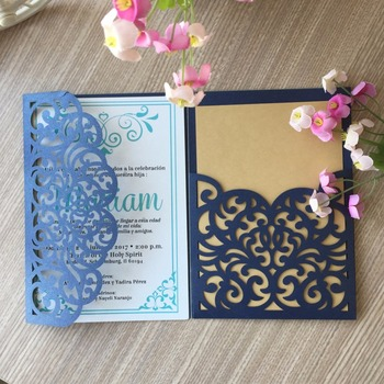 100pcs Vintage Laser Cut Wedding Invitations Card Birthday Party Decorations Event&Party Supplies Business Invite Card