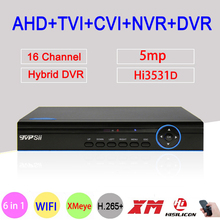 Blue Panel 5MP Xmeye H.265+ Hi3531D 16 Channel 16CH 6 in 1 Wifi Hybrid XVI NVR CVI TVi AHD CCTV Security Camera DVR FreeShipping hybrid 5 in 1 16ch ahd dvr recorder 1080p dvr 16 channel 2 sata hdd 1920 1080 cctv cvi tvi dvr 16ch hybrid dvr recorder system