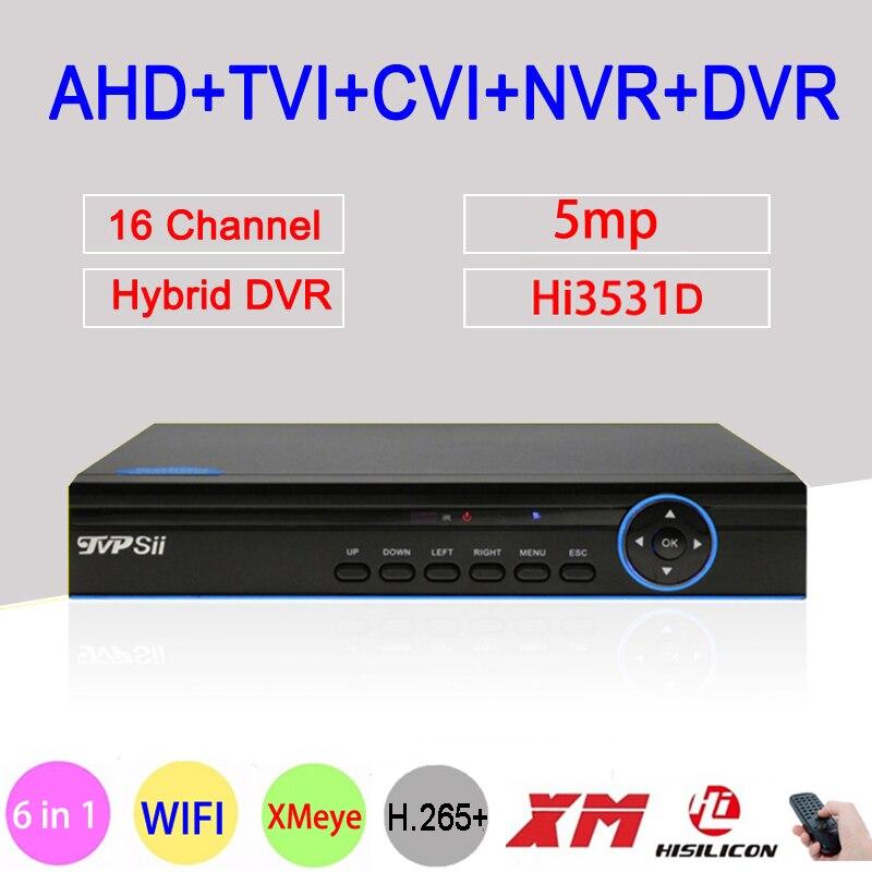 Painel azul 5MP Xmeye H.265 + Hi3531D 16 Canal 16CH 6 em 1 Wi-fi NVR Híbrido XVI CVI TVi AHD câmera de Segurança CCTV DVR FreeShipping