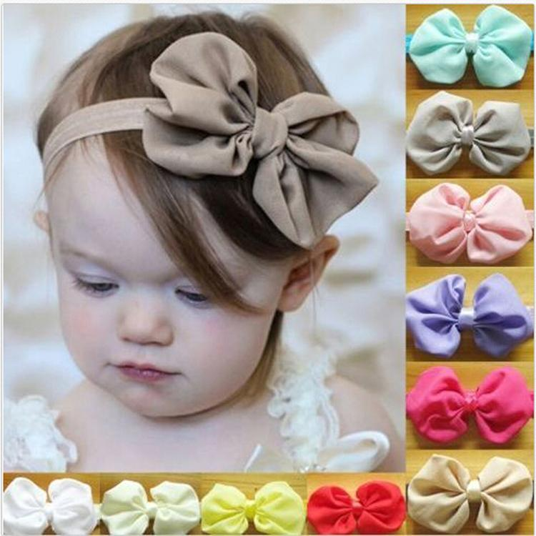 New High Quality 1pc 14 Colors Chiffon Bowknot  Headbands Solid Color  Girl Elastic Hair Bands Drop shipping
