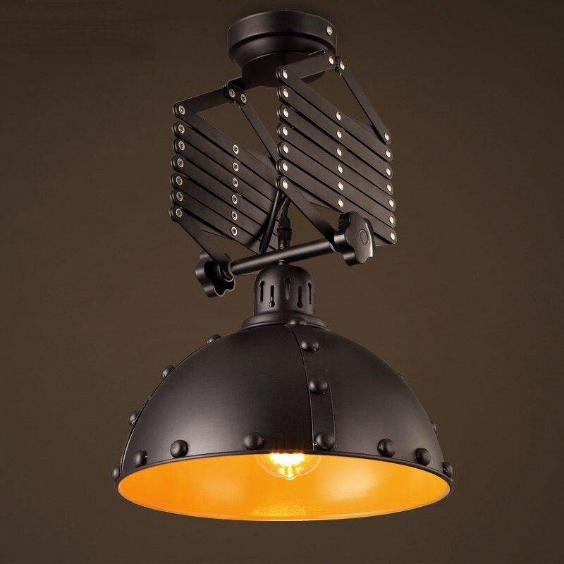 Attirant European Style Black Adjustable Retractable Ceiling Lamp Retro Loft Iron  Restaurant Bedroom Coffee Shop Ceiling Light ZA9201 In Pendant Lights From  Lights ...
