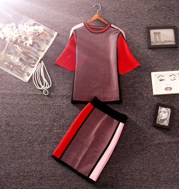 Autumn New Women Contrast Color Knitting Skirt Sets Short-sleeved Pullovers  Sweater and Mini Skirt 6ad68c33f
