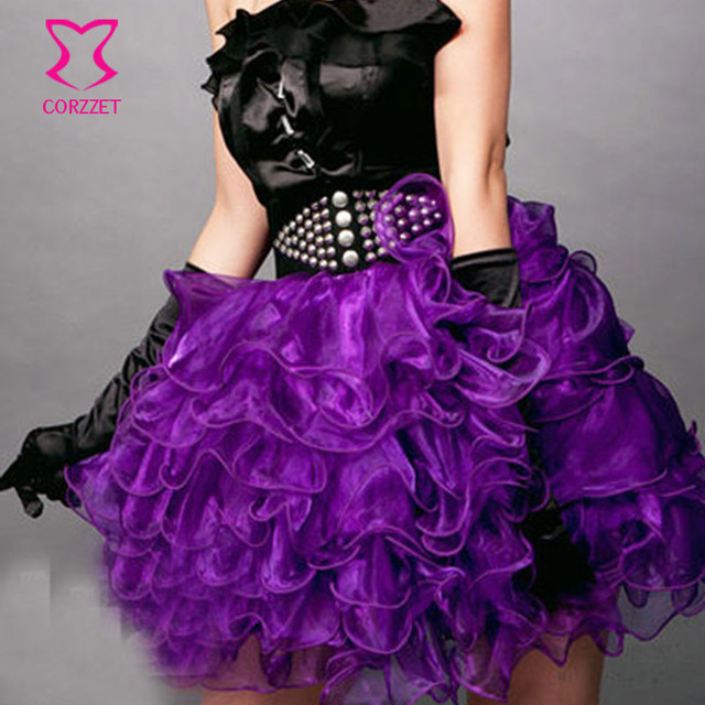Plus Size Micro Gothic Punk Tutu Skirt Women Multilayer Ruffles Burlesque Sexy Purple Mini Skirts Adult