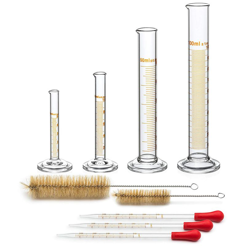 4 Measuring Cylinder - 5ml, 10ml, 50ml, 100ml - Premium Glass - Contains 2 Cleaning Brushes + 3 x 1ml Glass Pipettes