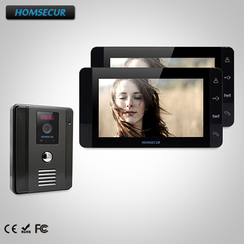 HOMSECUR 7 Wired Video&Audio Smart Doorbell+Black Monitor 1C2M for House/Flat TC011-B + TM703-B