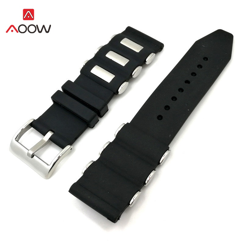 Black Metal Watchband Generic Fashion Sport Silicone Watch Strap Bracelet Replacement Wrist 20mm 22mm 24mm Watchband Belts