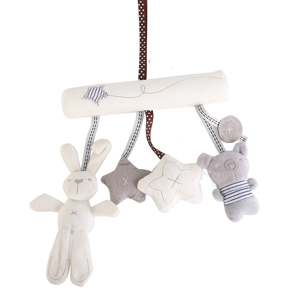 Soft Rabbit Rattles Stroller Accessories Baby Crib Rattles Plush Toys Pram Rattle Hanging Stroller Newborn Pendant Bell Bunny