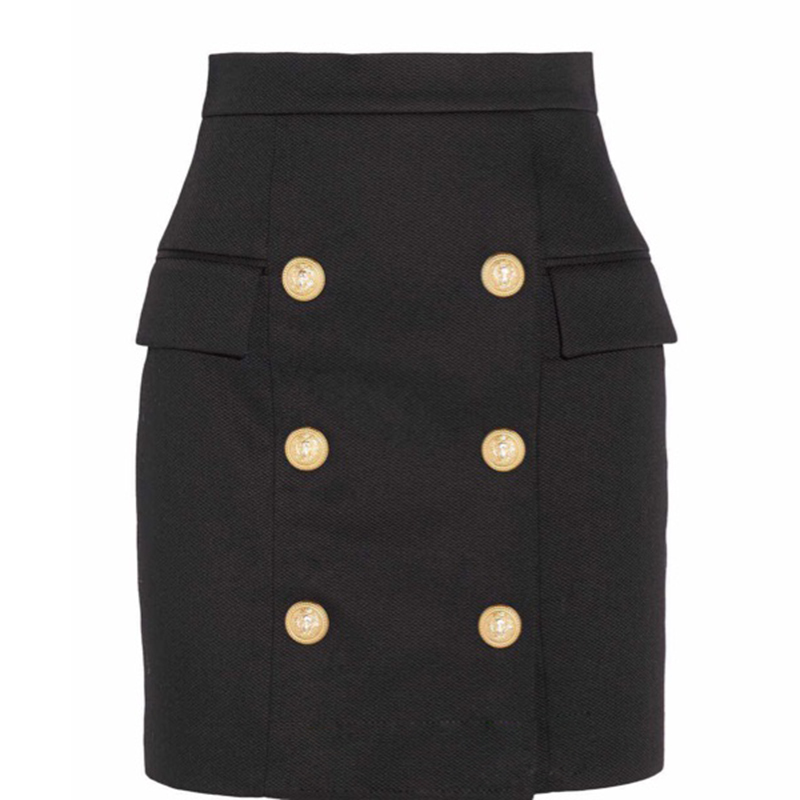 New Fashion Runway 2019 Designer Skirt Women's Metal Lion Buttons Embellished Mini Skirt-in Skirts from Women's Clothing    1
