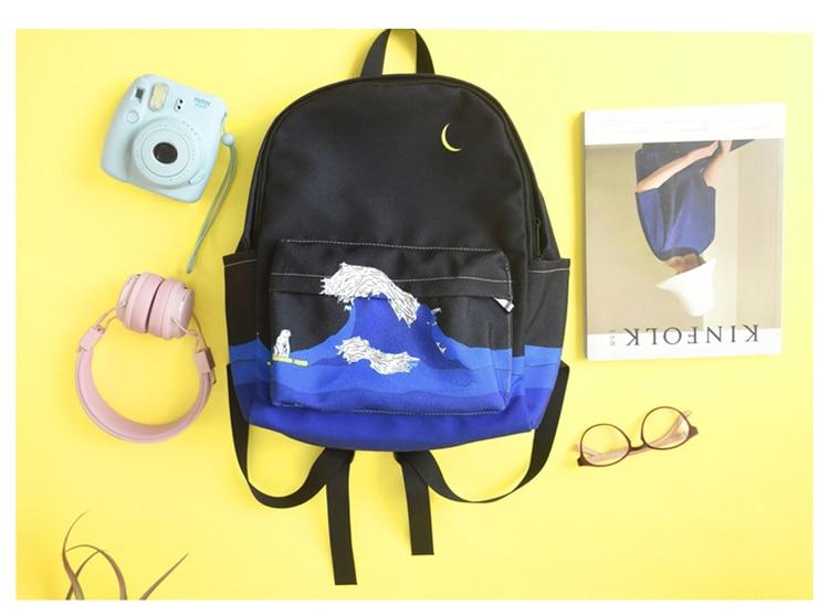 Moon Wood Original Design Black Blue Print Sea Moon Backpack Women Casual Canvas Backpack School Bags For Teenager Girls Sac