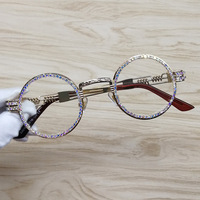 Круглые Солнцезащитные очки в стиле стимпанк металлическая оправа со стразами прозрачные линзы Ретро круглая оправа солнцезащитные очки