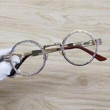 עגול משקפי שמש Steampunk מתכת מסגרת ריינסטון ברור עדשת רטרו מעגל מסגרת משקפי שמש
