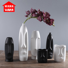 Nordic Minimalist Ceramic Abstract Vase Black and White Human Face Creative Display Room Decorative Figue Head Shape