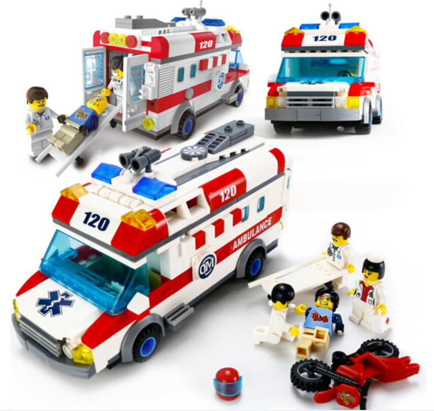 цены ENLIGHTEN City Series Emergency Ambulance Building Blocks Sets Bricks Educational Model Kids Toys Compatible Legoings Friends
