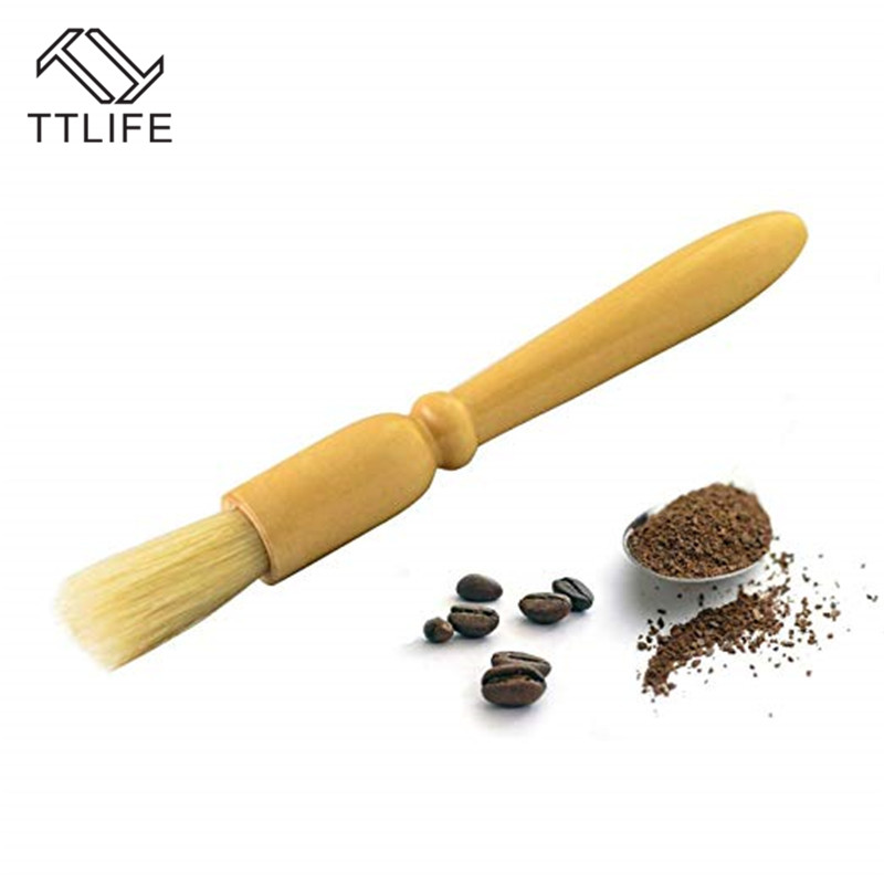TTLIFE Coffee Brush Coffee Grinder Machine Cleaning Brush Wood Handle Natural Bristle Wood Dusting Espresso Brush Cleaner Brush
