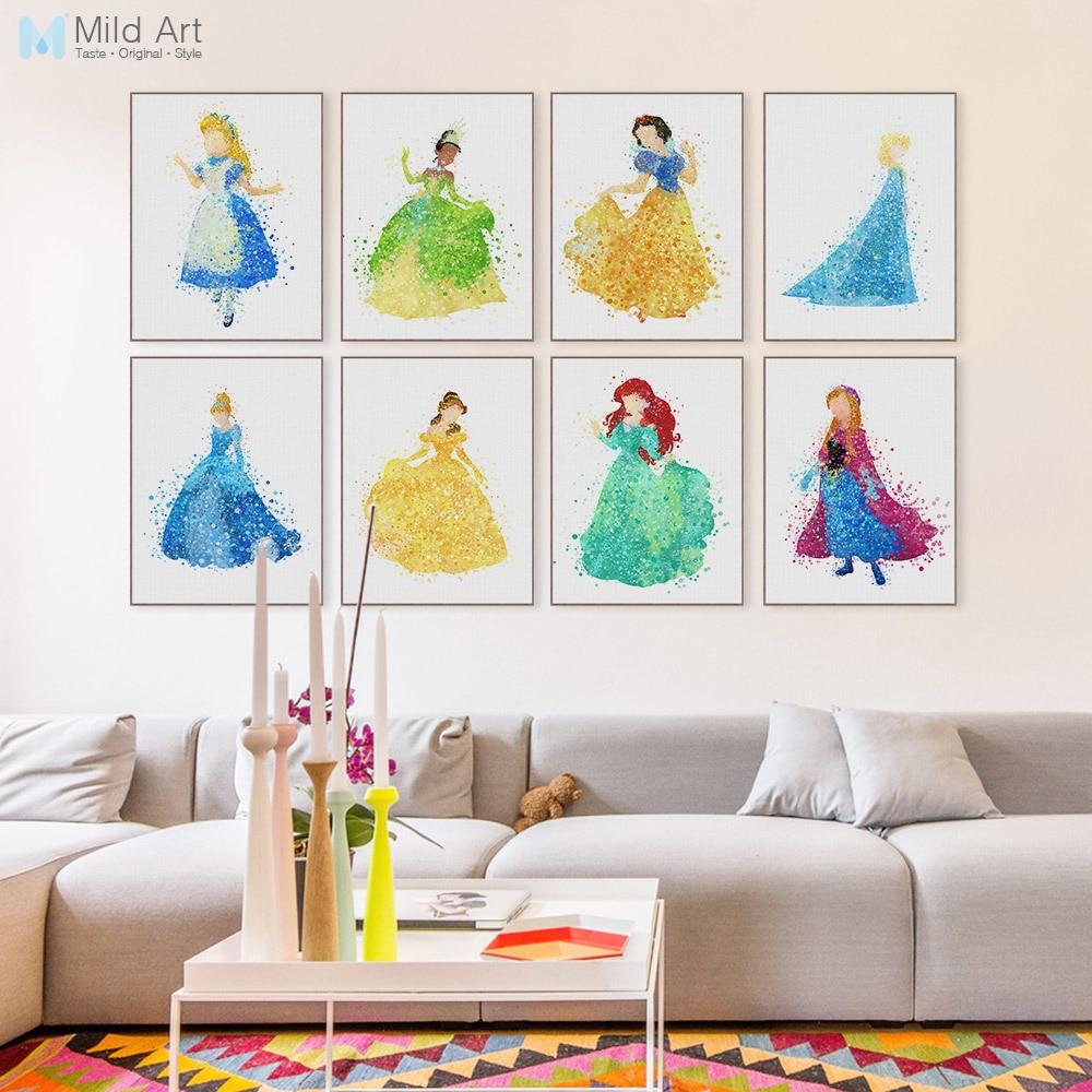 Ժամանակակից ջրաներկ Արքայադուստր Մոխրոտի կինոնկարի պաստառ Տպել A4 Pop հեքիաթային պատի արվեստի աղջիկ Մանկական սենյակ Դեկոր Նկարչություն Պատվերով նվերներ