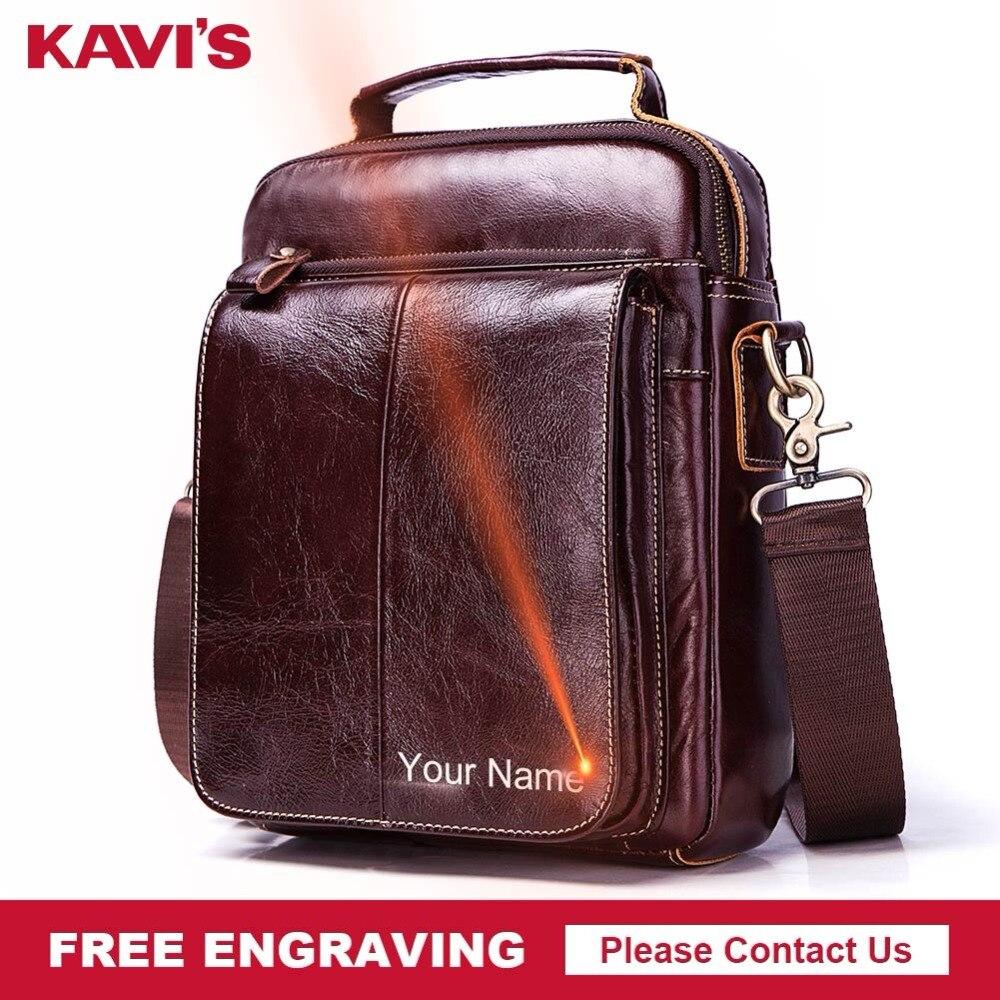 KAVIS gravure gratuite 100% véritable sac messager en cuir de vache sac à bandoulière pour hommes sac à bandoulière poitrine sac à main mode pour fourre-tout pochette