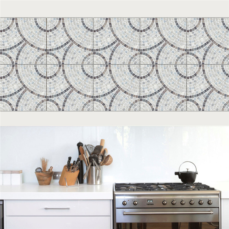 Vintage Square Self Adhesive Tile Stickers for Bathroom Kitchen Floor Furniture Home Decor PVC Waterproof Removable Art Decal in Wall Stickers from Home Garden