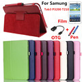 PU Leather Cover Case for Samsung tab 3 7.0 P3200 SM-T211 T210 For Tab 3 7''  Screen +OTG+Pen as a gift