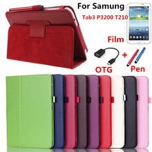 """Casos inteligentes cubierta protectora de Cuero de LA PU para Samsung tab 3 7.0 P3200 T210 T211 SM-T211 Para Tab 3 7 """"tabletas con soporte función"""