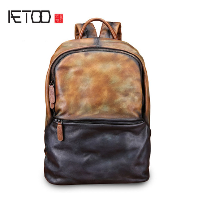 AETOO Backpack Mens Leather Backpack Fashion Mens Leather Bag Retro Leisure Large Capacity Travel Bag