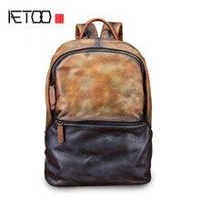 AETOO sırt çantası erkek deri sırt çantası moda erkek deri çanta Retro eğlence büyük kapasiteli seyahat çantası
