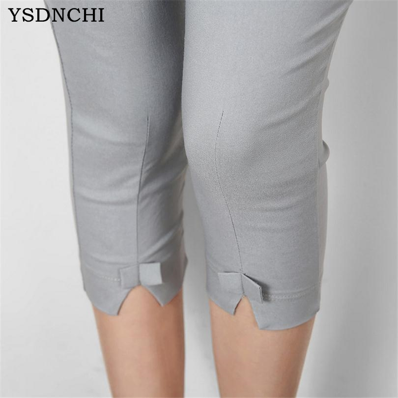 YSDNCHI 2018 Summer   Pants     Capris   Women Fashion Mid Waist Casual   Capris   Plus Size Ladies Pencil   Pants   Stretch   Capris   Pencil   Pant