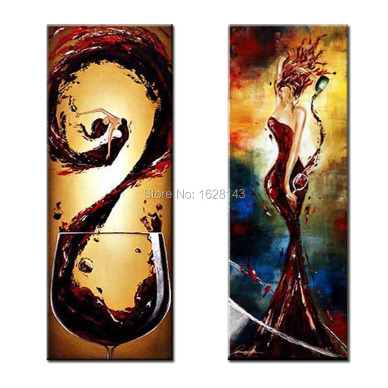 Sexy Barmaid and Wine! Free Shipping 2 Pcs  Abstract Canvas Paintings Hand Painted Modern Home Decoration Gift Wall Art DR2P6