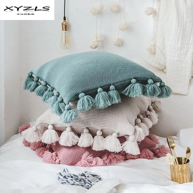 XYZLS Solid Color Knitted Cushion Cover Decorative Pillowcase With Tassels For Home Sofa Car Decor Pillow Cover Without Filling tassels pillow