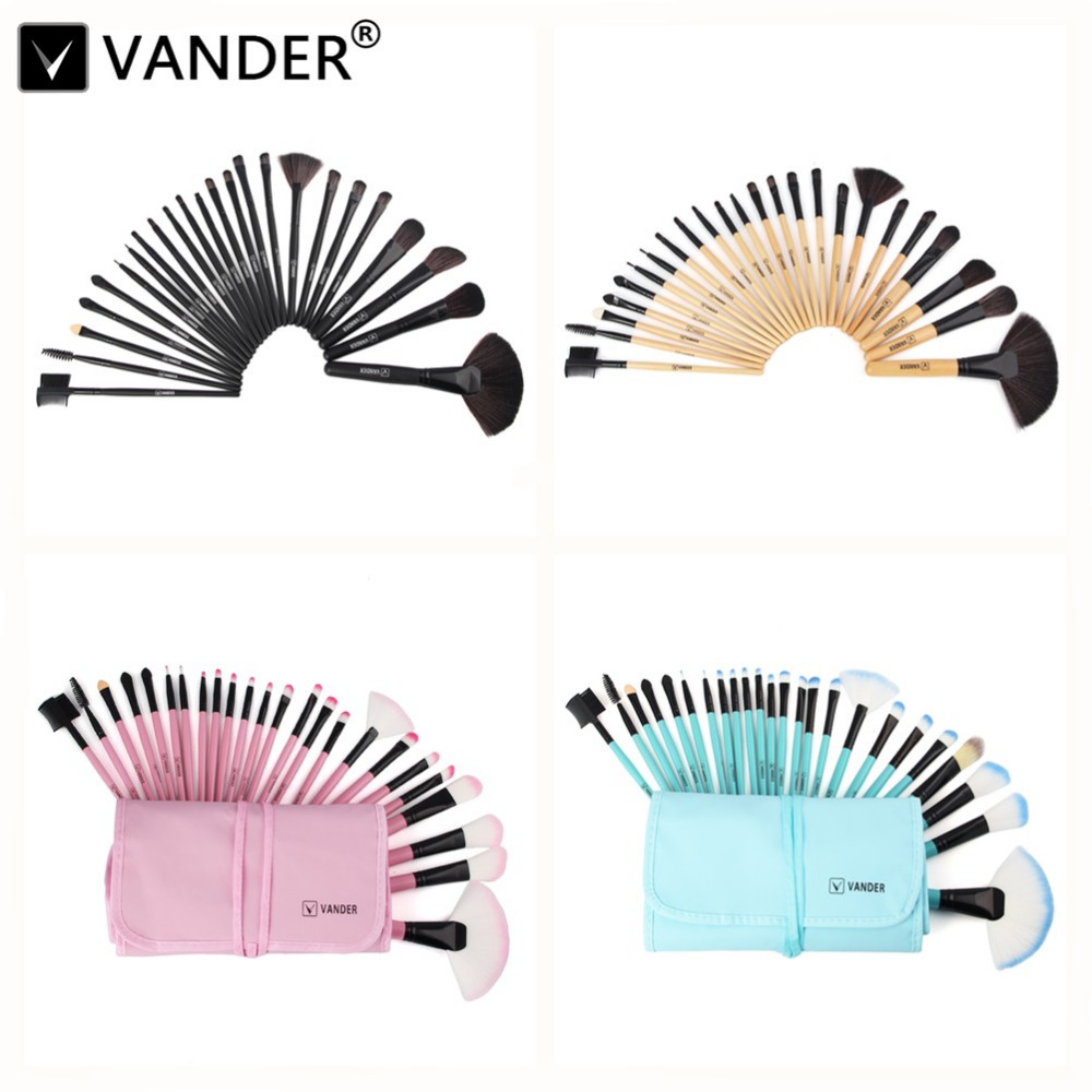 Vander Professional 24Pcs Makeup Brushing Brushes Set Beauty Cosmetics kits Eyebrow Shadow Powder Pincel Maquiagem w/ Pouch Bag цена 2017