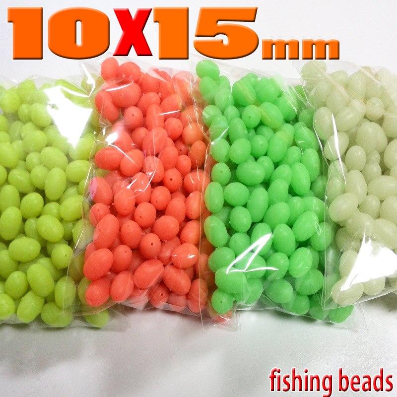150pcs 10*15mm Oval Large Luminous Glow Soft Fishing Beads Lumo Green