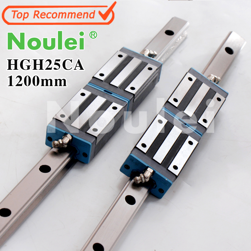 Noulei 2pcs HGR25 Linear Guide Rail 1200mm + 4pcs HGH25CA Slide Block For CNC Parts HGH25 guia lineal 1200 hig quality linear guide 1pcs trh25 length 1200mm linear guide rail 2pcs trh25b linear slide block for cnc part