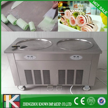 Big Capacity rolling fried ice cream machine double 2 pan ice cream roller Ice cream pan fried cie cream machine