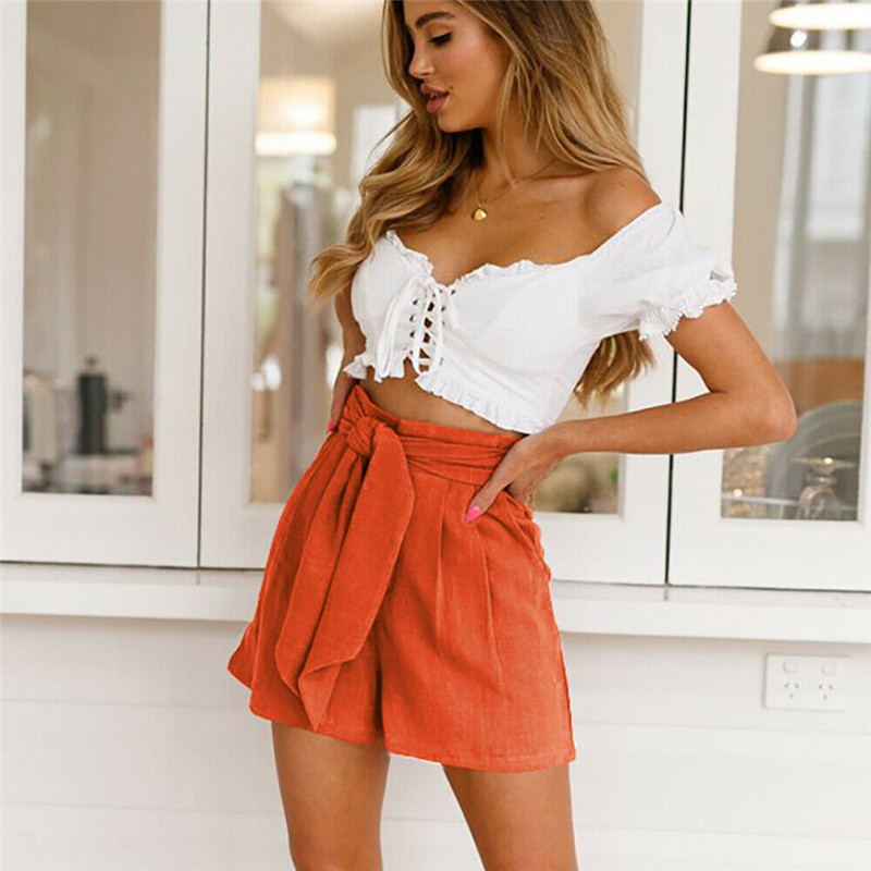 Hot Summer Casual Shorts Beach High Waist Fashion Lady New Women Shorts Ladies Summer Beach Casual Solid Short Trousers Bottoms